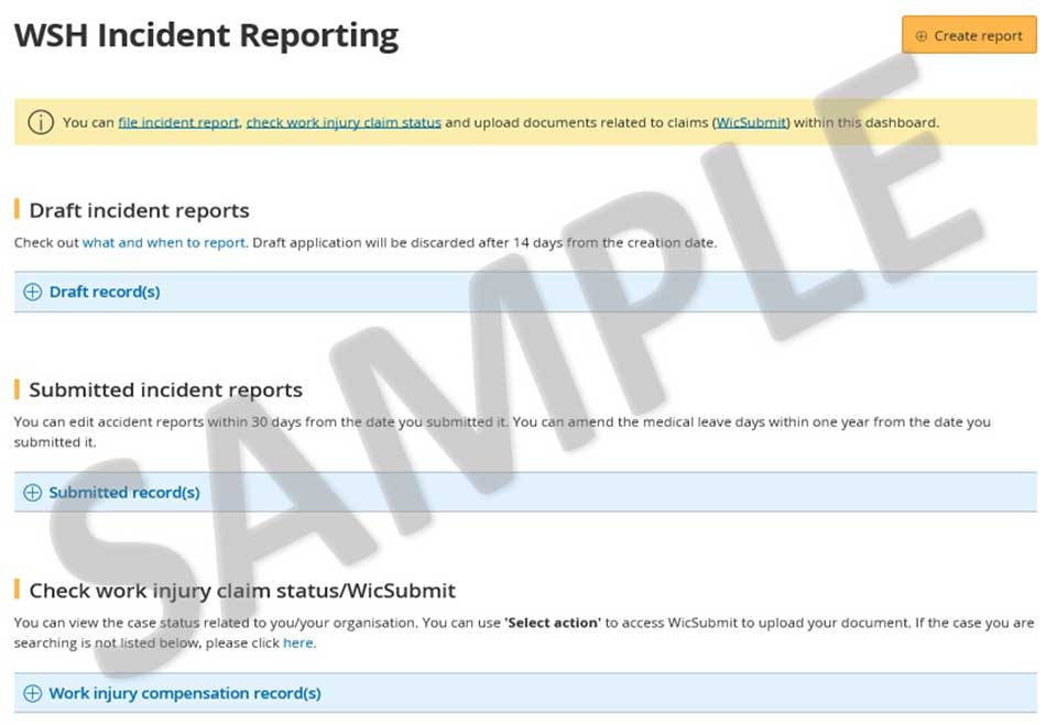 Sample WSH Incident Report dashboard