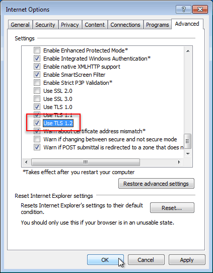 Enable Transport Layer Security (TLS) 1.2 in Internet Explorer